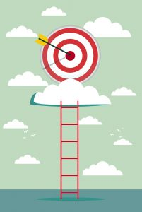 climb for target over cloud, business success concept cartoon vector illustration